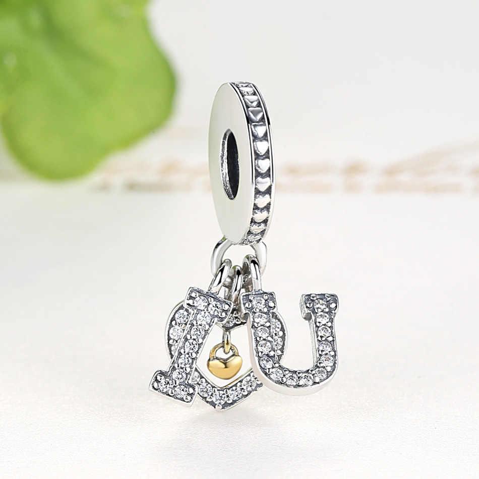 Fit Originale Pandora Pendenti E Ciondoli Braccialetto 925 Sterling Silver Bead Branello di Cristallo di Zircon DELLA CZ Ti Amo Argento Del Cuore di Fascino Ciondola FAI DA TE gioielli