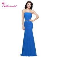 Alexzendra Blue Strapless Crystal Belt Mermaid Bridesmaid Dresses Party Dress For Wedding