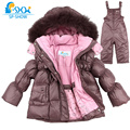 Kids 2016 Boy And Girl Luxury Brand Ski Fur Jacket Windproof Jacket Thick Warm Winter FurJacket / Coat + Trousers Free Shipping