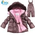 Kids 2016 Boy And Girl Luxury Brand Ski Fur Jacket Windproof Jacket Thick Warm Winter FurJacket / Coat + Trousers Free Shipping