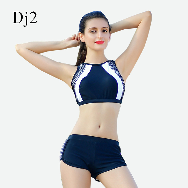 6a68edabf811b High Waist Women Bikini Sets Sports Biquini Femme Training Swimwear Shorts  Black White Bathing Suit High Neck Swimsuit Tankini
