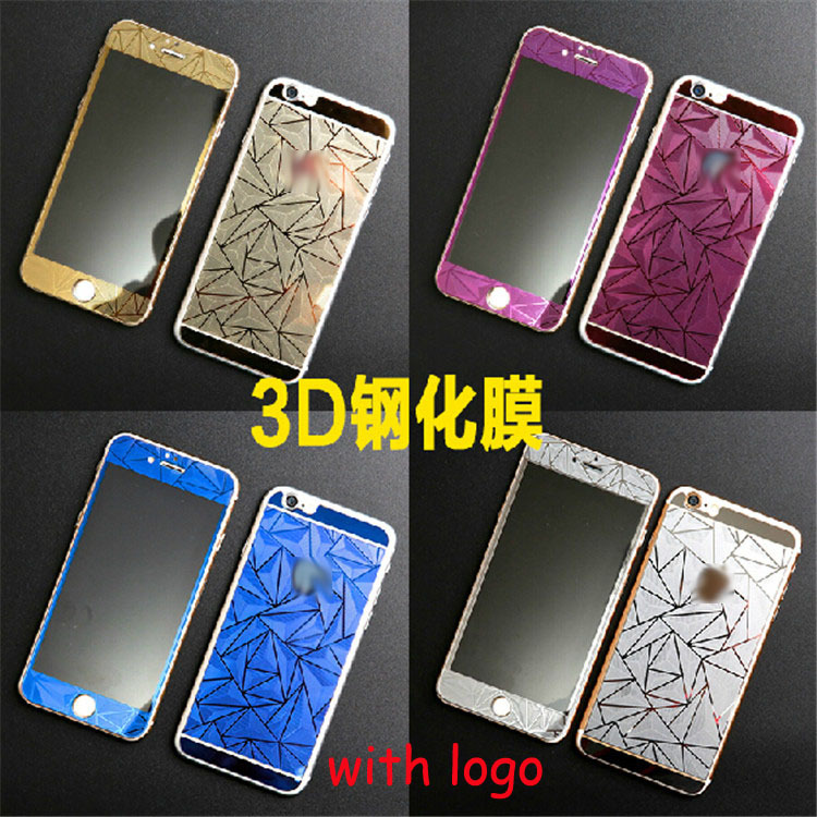 For Apple iphone 6plus 3D Diamond Tempered Glass Screen Protector Full Body  Front and Back Protective Film for ipjhone 6 plus 28178bff8fd6