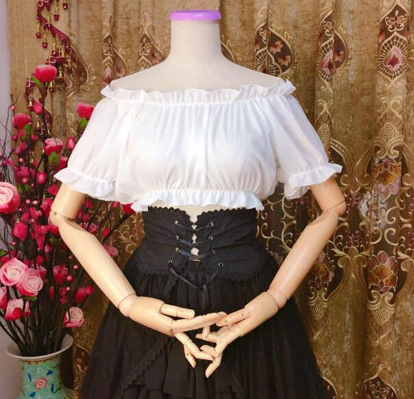 SUMMER Women Lolita shoulderless Chiffon Crop Top Blouse Puff Sleeve Lace Bottoming LACE Shirt