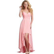 Long Party Dress for Wedding Guest Robe Demoiselle d'honneur Hi Low Chiffon Dress Beach Wedding Blush Pink Bridesmaid Dresses