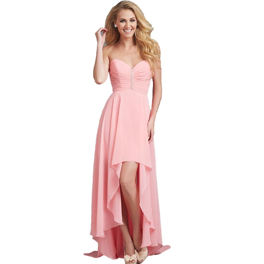Long Party   Dress   for Wedding Guest Robe Demoiselle d'honneur Hi Low Chiffon   Dress   Beach Wedding Blush Pink   Bridesmaid     Dresses