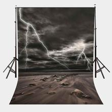 5x7ft Dark Night Backdrop White Lightnings Barren Surface Photography Background