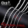 Beier 2.5/3/4 мм ожерелье из нержавеющей стали крутить модные ожерелье мальчик человек ожерелье цепь Серебряный Цвет BN1007