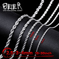 Beier 2.5/3/4mm stainless steel necklace twist  trendy chain necklace boy man necklace chain Silver Color  BN1007