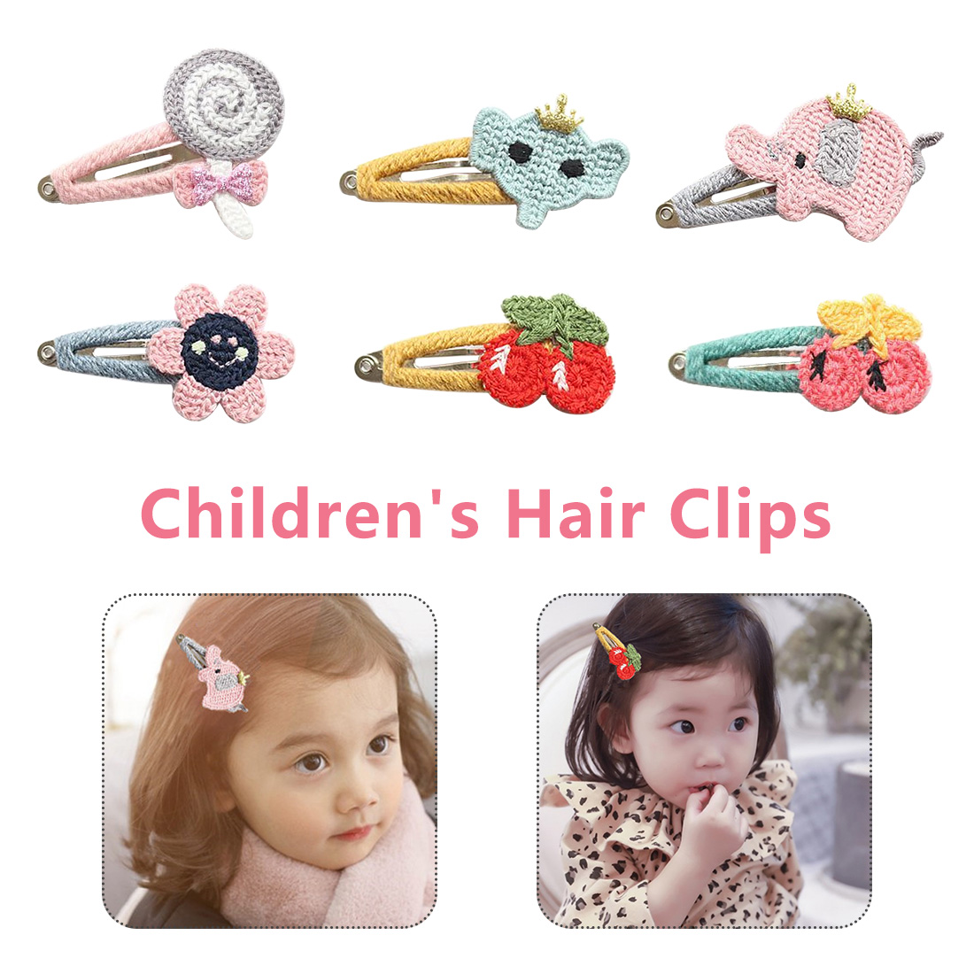 Knitting Cherry Flowers Snap Hair Clips Cute Girls  Lollipop Elephant Hairpins Barrettes Butterfly Bunny Hairpins