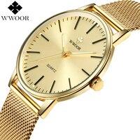 WWOOR Men Simple Slim Quartz Watch 금 강 Mesh 초 씬 Men Watches Luxury Brand 방수 남성 Wrist Watch Golden clock