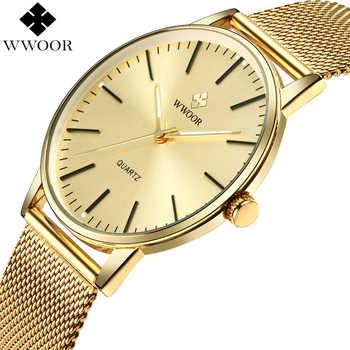 WWOOR Men Simple Slim Quartz Watch Gold Steel Mesh Ultra Thin Men Watches Luxury Brand Waterproof Male Wrist Watch Golden Clock - DISCOUNT ITEM  49% OFF Watches