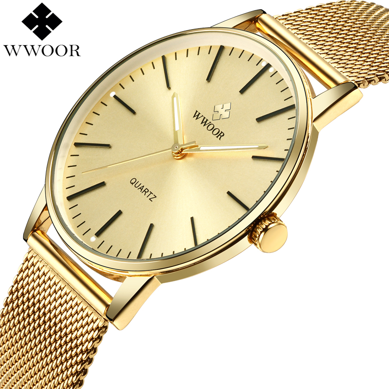 WWOOR Top Brand Men Slim Analog Quartz Watches Gold Waterproof Stainless Steel Mesh Band Thin Luxury Men Wrist Watch Male Clock sinobi luxury brand new design men watch silver stainless steel mesh band quartz watches men simple slim business male clock