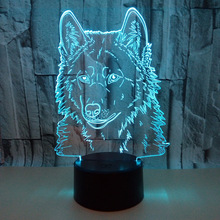 Wholesale Wolf 3d Lamp 7 Color Changes Touch Remote Nightlight Novelty Usb Led Luminaria Gift Night Light