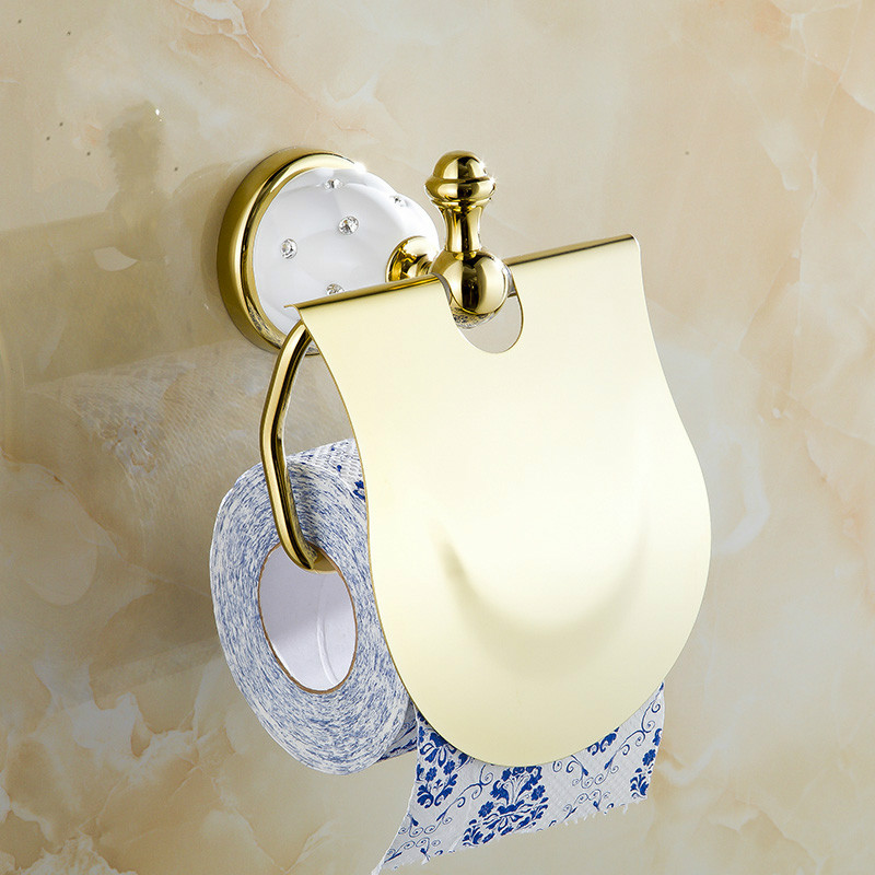 Antique Diamond&Crystal Gold Toilet Paper Holder Europe Tissue Holder Solid Brass Roll Holder Antique Bathroom Accessories Sets jooe antique bronze finishing toilet paper holder brass porta papel higienico tissue holder bathroom accessories