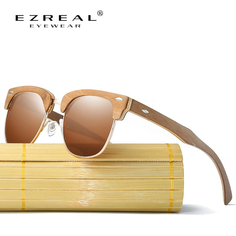 EZREAL ნახევარი ხის სათვალეები მამაკაცები ქალთა ბრენდის დიზაინერი სათვალეები Mirror Bamboo Sun Glasses Fashion Gafas Oculos De Sol UV400