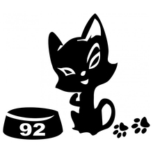 CS-533#10.3*12cm Cats, cats Kitty on the gas tank funny car sticker and decal silver/black vinyl auto stickers