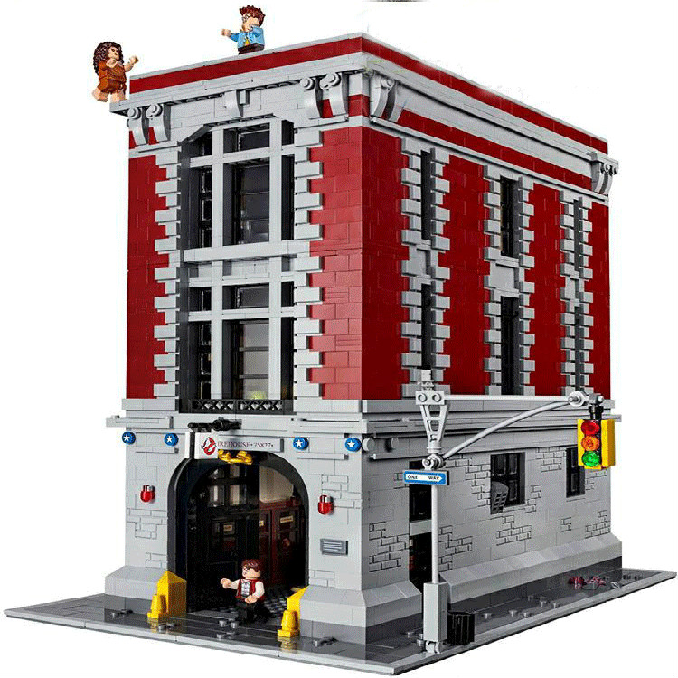new 4695Pcs Ghostbusters Firehouse Headquarters lepines Model Building Kits Model set Toys For Children Compatible kid 75827 4695pcs lepin 16001 city series firehouse headquarters house model building blocks compatible 75827 architecture toy to children