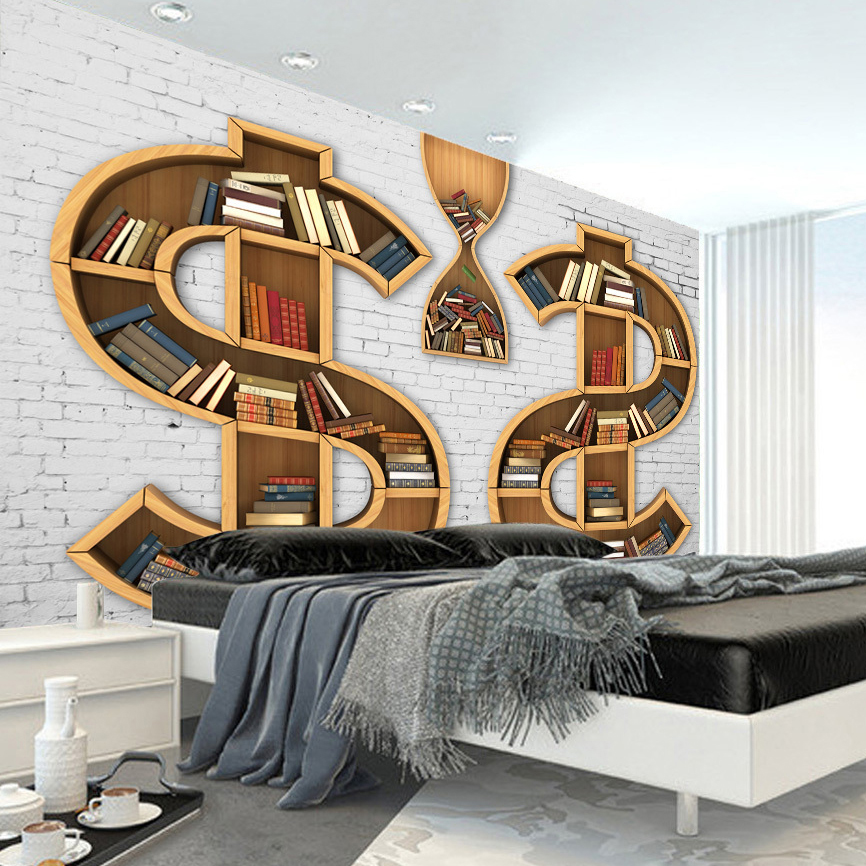 Online get cheap bookshelves living room for Bookshelf wall mural