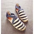 Home Womens Shoes Pisos Alpargata Alpargatas de Cuero Suave Zapatos De Las Señoras Llanura Pastoral Guinga Tejido Elástico Correa Cruzada