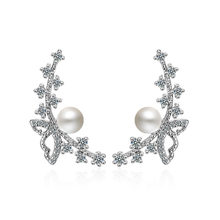 XIYANIKE-pendientes de circonia cúbica con lazo para mujer, joyería de plata de ley 925, aretes de tuerca, regalo 2019