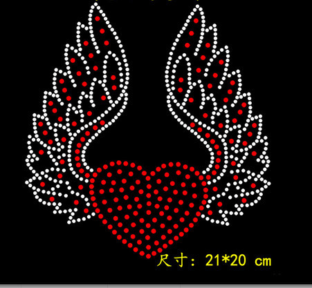 b47902ab77 US $4.5 10% OFF|2pc/lot Fashion Flying Heart garment patch hot fix  rhinestone transfer motifs iron on transfers motif strass iron patches -in  ...
