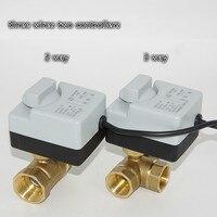 Bola eléctrica de interruptor de flujo de agua, válvula de bouchon de 3 vías, dos vías, dos cables, control AC220V, herramientas de hvac de punta de rosca interna