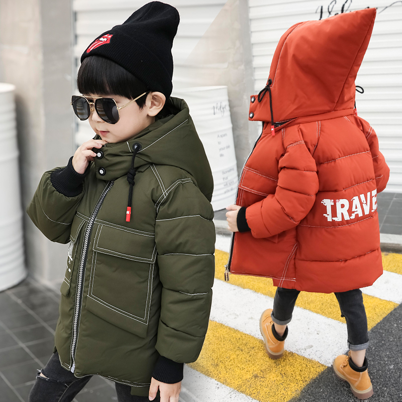 4-9 years Boys cotton coat padded children's winter Hooded Russian winter kids down Printed windbreaker Big pocket witch hat