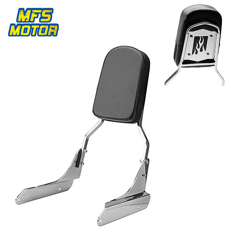 For 98-07 Honda Shadow VLX 600 VLX600 Motorcycle Rear Flame Backrest Passenger Sissy Bar Cushion Leather Pad Chrome 1998-2007