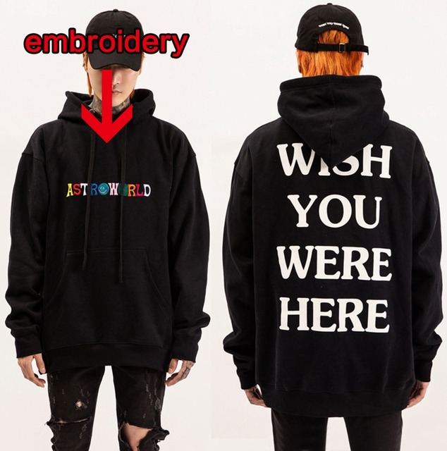 ded3a523bcb6 2019New embroidery Travis Scott Astroworld WISH YOU WERE HERE Unisex  Pullover Hoodie and Sweatshirt