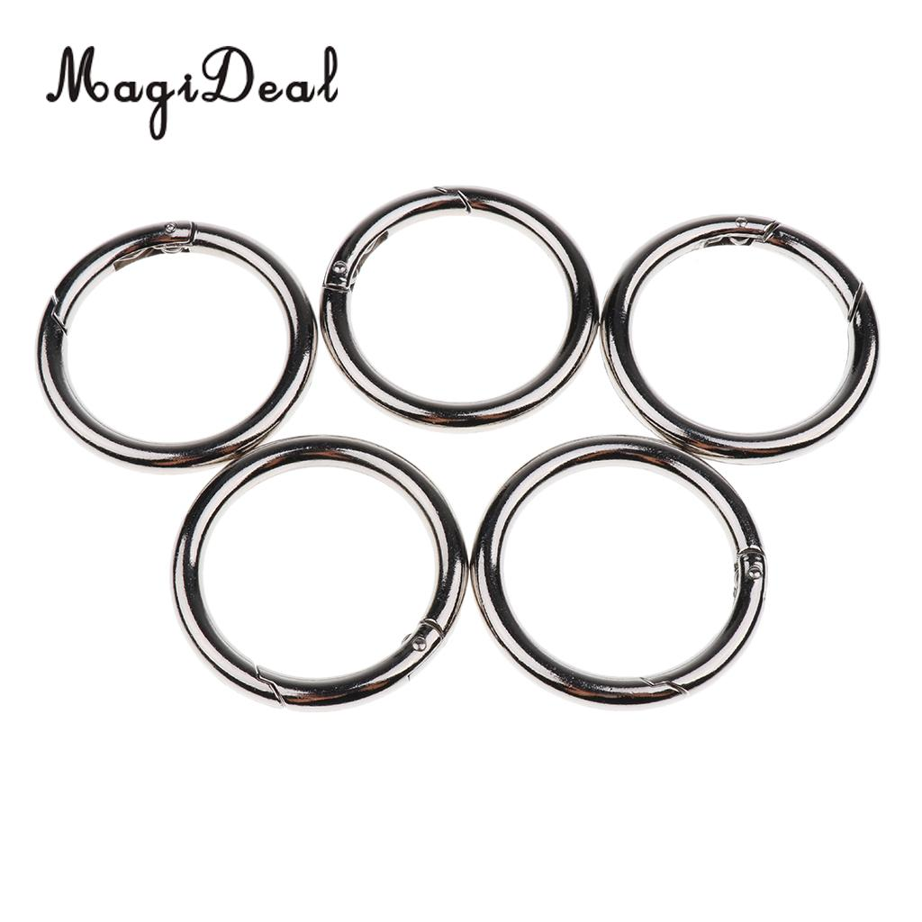 Outdoor 5 Pcs Round Push Gate Snap Open Hook Spring Ring Chain Carabiner 15/20/25/30/35/40/44/49mm For Camping Climbing Acceory