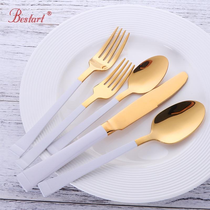 Роскошный Западный золото посуда набор 5 шт Нержавеющаясталь белый посуда золота Одежда высшего качества черный и золотой набор столовых приборов ужин Ножи