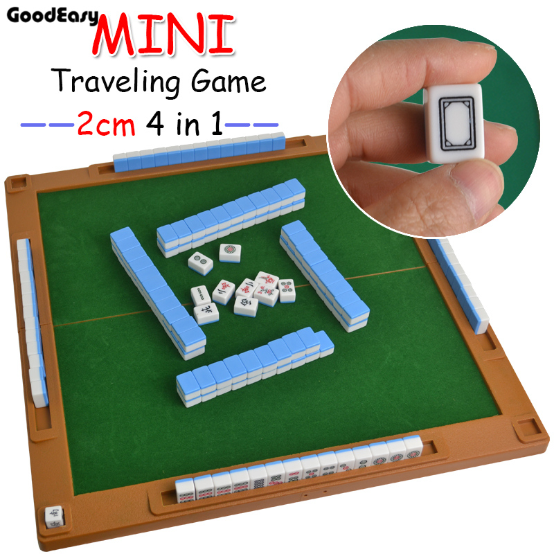 4 in 1 Traveling Mahjong Game Portable Mini Mahjong with mini foldable table Home Games Chinese