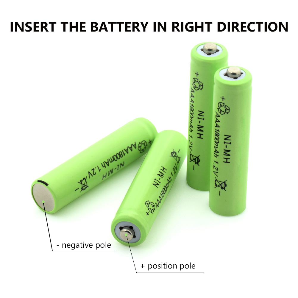 <font><b>Rechargeable</b></font> <font><b>Ni</b></font>-<font><b>MH</b></font> <font><b>AAA</b></font> li-ion Lipo Lithium <font><b>Battery</b></font> <font><b>1.2V</b></font> <font><b>1800mAh</b></font> For Flashlight Headlamp Toy Flashlight Cell <font><b>batteries</b></font> image