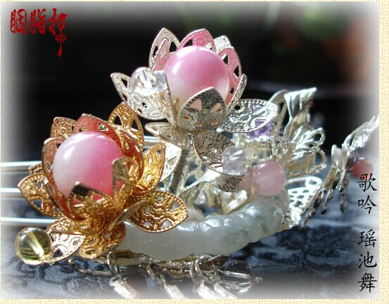 Peach Blossom Jade Piece Copper Hair Stick with Tassel Hair Stick Hanfu Costume Hair Accessory Hair Jewelry pink crystal double layer classical hair stick vintage hair accessory hair stick hanfu hair accessory