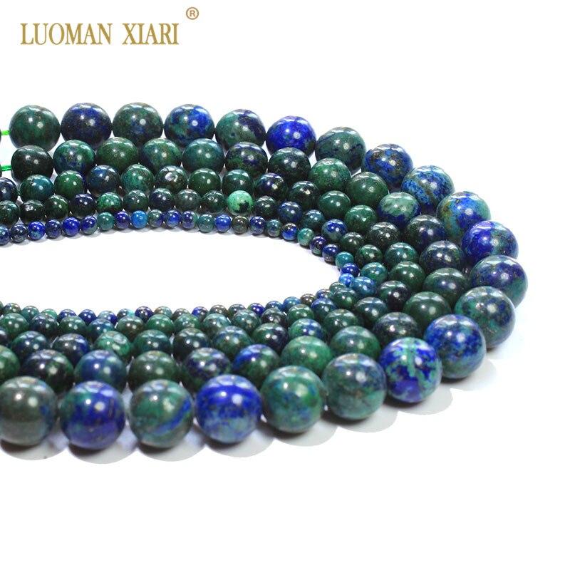 "15/"" Natural Lazuli Chrysocolla Stripe Gem Loose Spacer Bead Jewelry Making Craft"