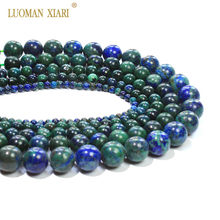 New Chrysocolla Azurite Round Loose Natural Stone Beads For Jewelry Making DIY Bracelet Necklace 4/6/8/10/12 mm Strand 15''(China)