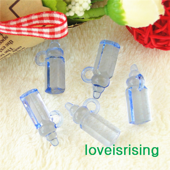 new mini size 2811mm acrylic light bluepink baby bottles for baby shower favorscute charmsparty decoration