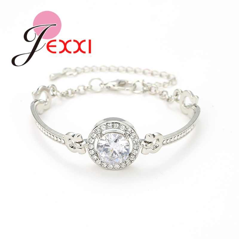 Newest Fashion 925 Sterling Silver Bracelet Bangles For Women Girls Adjustable Extend Chain Clear Sparkling Crystal Wholesale