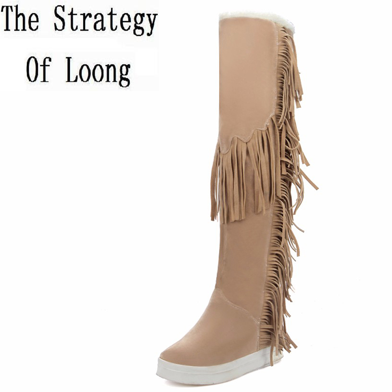 Women Long Fringe Boots Over The Knee Boots 2016 New Arrival Winter Tassels Lady Snow Boots Vintage Thick Warm Plus Size 41-45 genuine leather women over the knee boots pointed toe wedge heels thick warm lady winter long boots plus size 43 44 45 big size