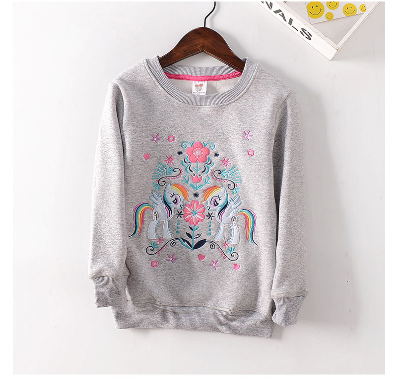 Autumn Winter Kids Girl Hoodies Baby O-neck Cartoon Unicorn Embroidery Fleece Thick Shirt Toddler Warm Casual Outwear Horse Tops