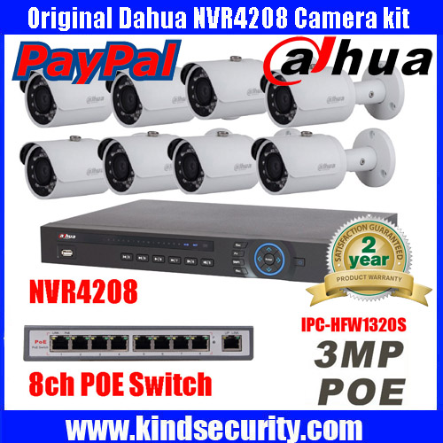Free shipping Original Dahua Indoor HD 3MP IP Cameras IPC HFW1320S Security System with 8CH NVR4208