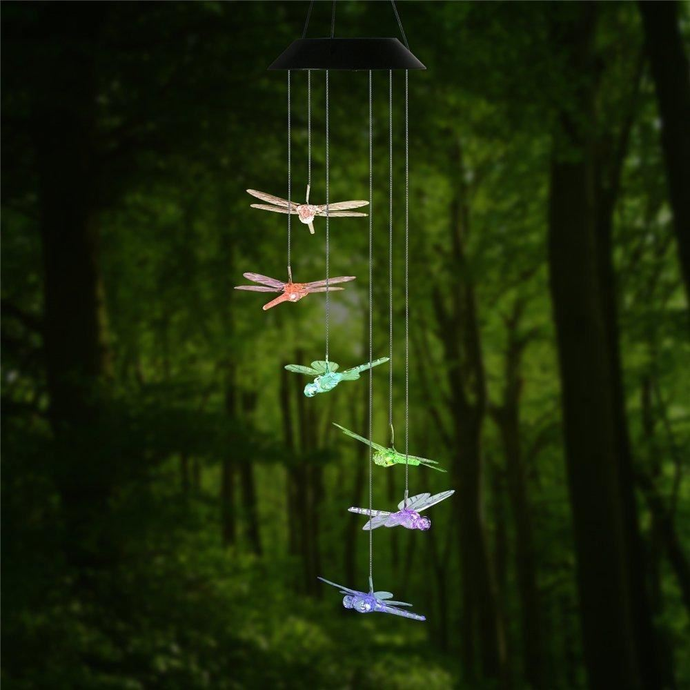 Dragonfly Pendant Lamp Solar Mobile LED Light Color Changing Wind Chimes Aeolian Bell Yard Garden Wind Chimes Lamp Accessories