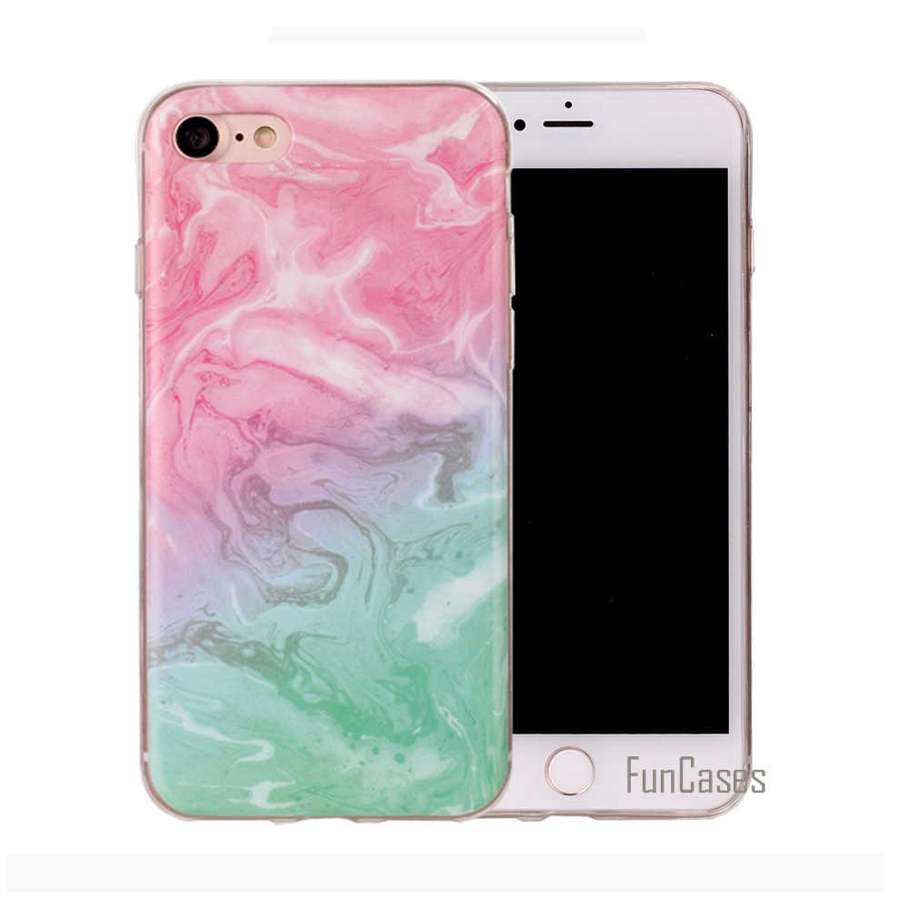 Funda de mármol para iPhone 6 funda de silicona de patrón colorido gradiente para iPhone 6 Plus tinta pintura Fundas de piedra