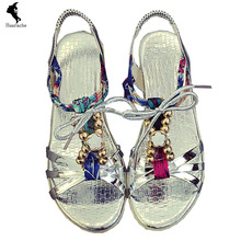 Fashion Sandals Breathable Ladies Shoes Leather Gladiator Solid Career Buckle Womens Flip Flops Silver Branded Summer