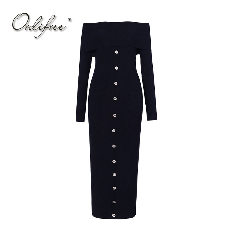 Ordifree 2017 Autumn Winter Knitted Dress Women Sweater Dress Long Sleeve Off Shoulder Knee Length Sexy Bodycon Midi Dress