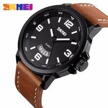 2016 SKMEI Reloj de Cuarzo de Los Hombres Top Marca de Moda de Lujo Casual Reloj Fecha Hombres Del Deporte Del Cuero Genuino de Pulsera relogio masculino