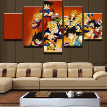 5 PanelSet Cartoon Dragon Ball Goku Super Saiyan Painting Picture Cuadros Decoration Canvas Landscape For Living Room
