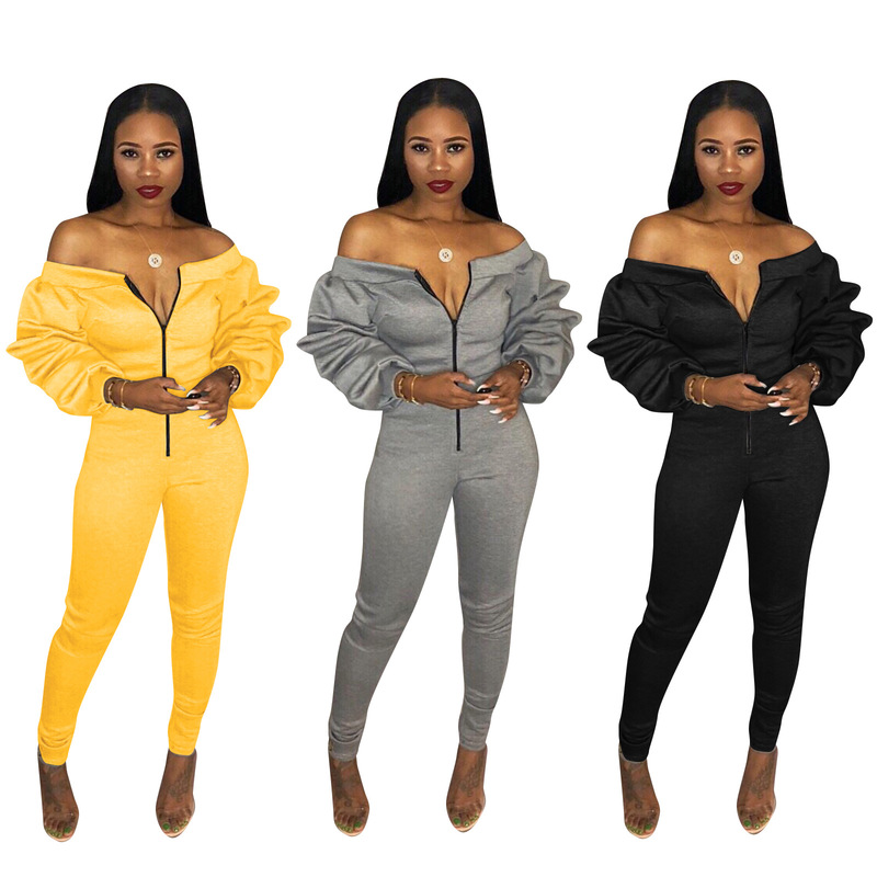 Tsuretobe Off Shoulder Casual Jumpsuits Women Overalls Autumn Winter Long Sleeve Zipper Rompers Womens Jumpsuit