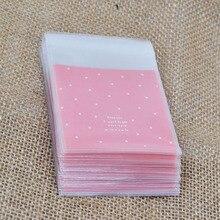 50 unids/lote de bolsas de plástico Celofán transparente de lunares para regalo de galletas y dulces con bolsa autoadhesiva DIY para fiesta de cumpleaños o boda