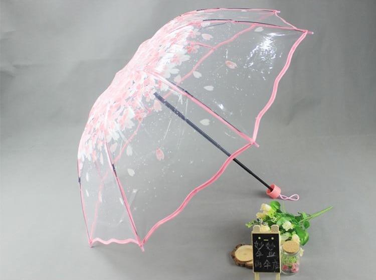 Wavy Edge Three Folding Pink Umbrella Sakura New Fashion - საყოფაცხოვრებო საქონელი - ფოტო 3